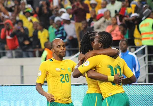 Bafana players celebrate a goal