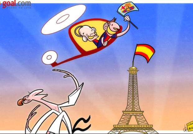 Cartoon - Les stars du Barça reviennent à Paris
