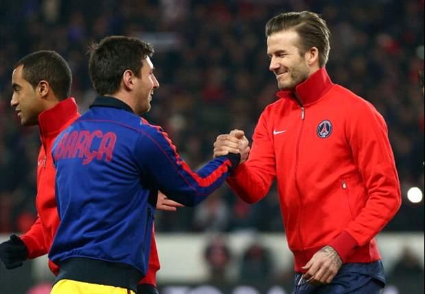 Beckham y Messi se enfrentaron en la UEFA Champions League de la actual temporada.