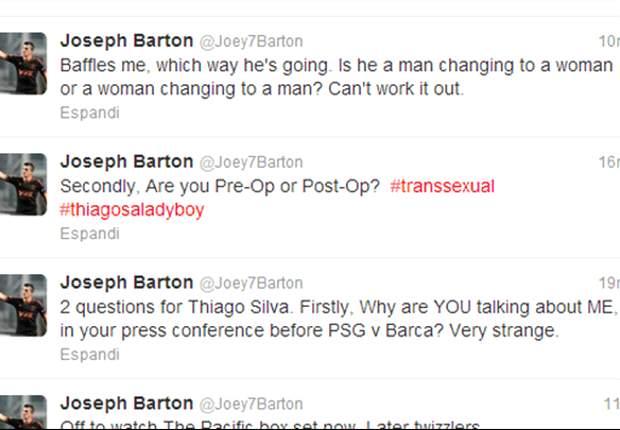 Joey Barton podría ser demandado por ofender a Thiago Silva