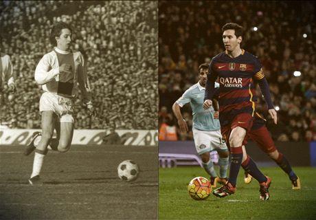 Messi imita el famoso penalti de Cruyff