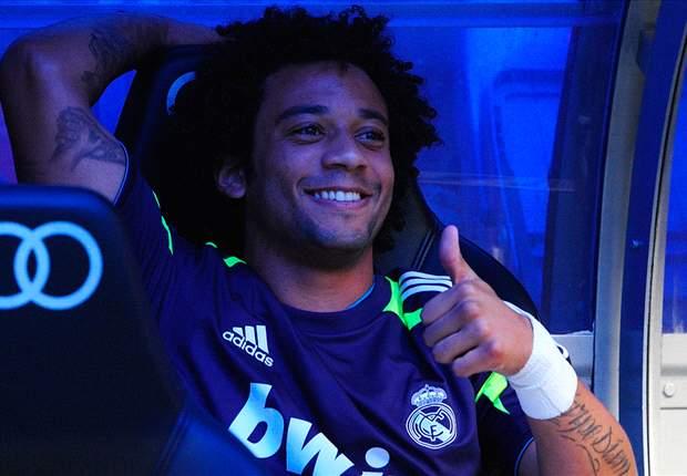 Marcelo en el banquillo del Santiago Bernabéu