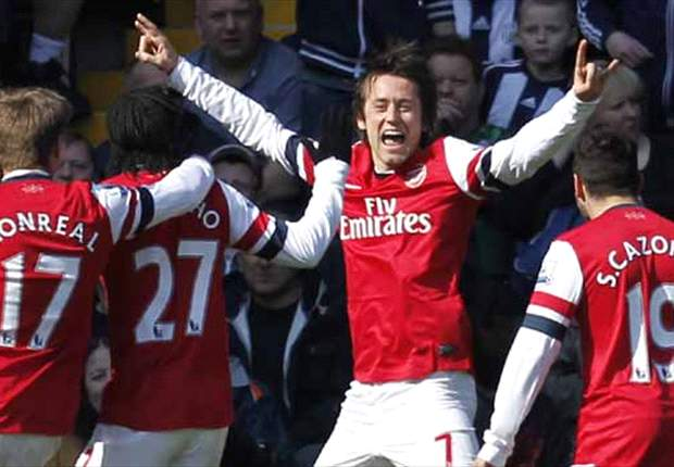 West Brom 1-2 Arsenal: Rosicky double just enough for 10-man Gunners