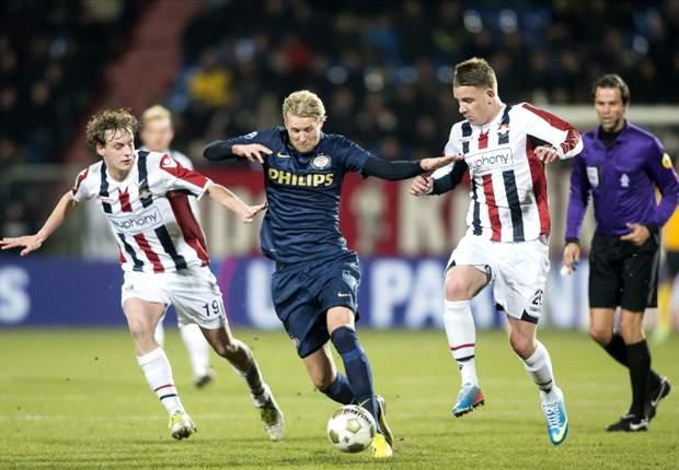 PSV ontdoet zich laat van Willem II