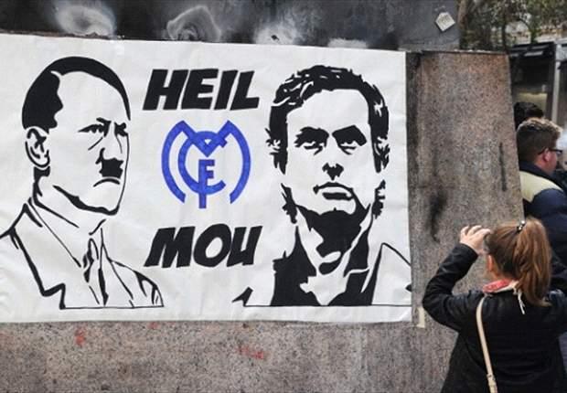 Polémico cartel nazi sobre José Mourinho en el Santiago Bernabéu