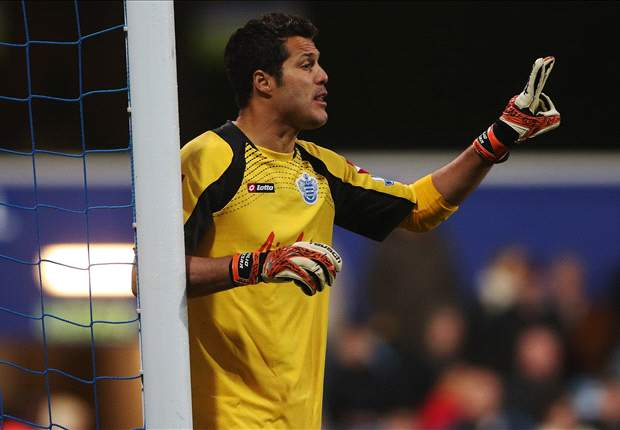 QPR goalkeeper Cesar pictured wearing Chelsea shirt