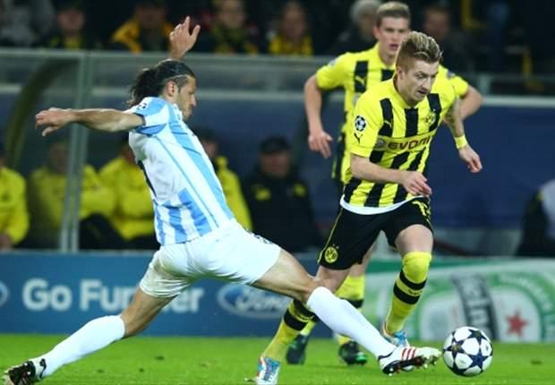 Borussia Dortmund-Malaga 3-2: Joaquin ed Eliseu illudono gli spagnoli, Reus e Santana ribaltano il risultato nel recupero