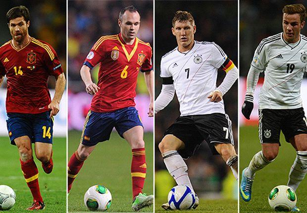 Alonso, Iniesta, Schweinsteiger y Gotze son figuras en sus equipos y también en sus selecciones.