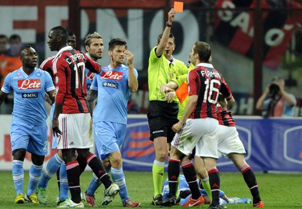 AC Milan 1-1 Napoli: Flamini scores & is dismissed as Pandev earns point for visitors