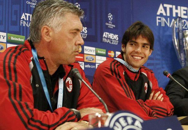 Ancelotti e Kakà ai tempi del Milan: un binomio che continuerà anche al Real Madrid