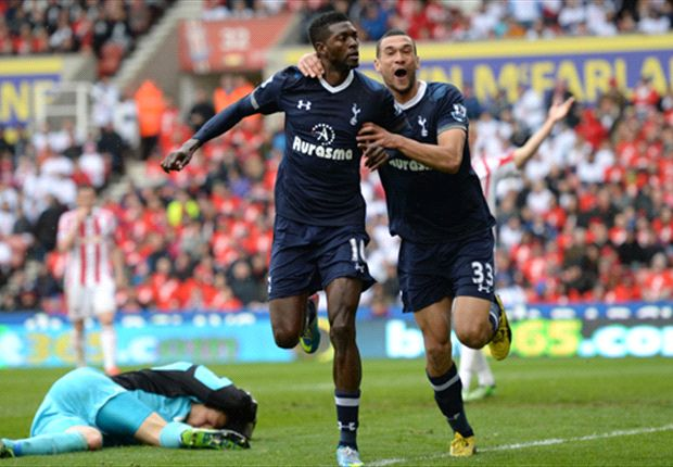 Stoke City 1-2 Tottenham: Adebayor late show keeps Spurs in Champions League hunt
