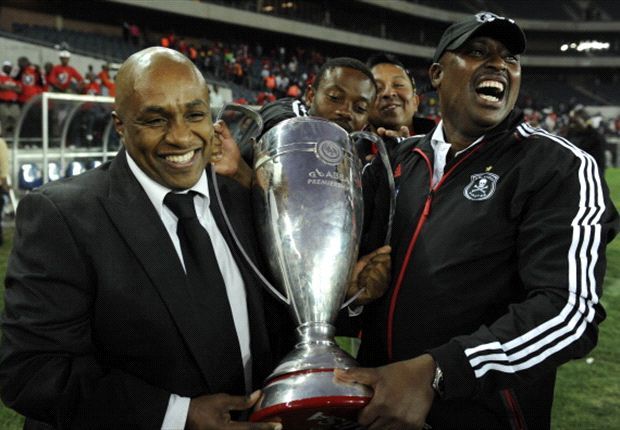 Floyd Mbele and Mickey Modisane celebrate winning the Absa Premiership 2011.