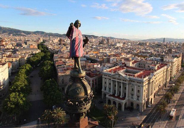 Cristóbal Colón se suma a la fiesta del Barcelona