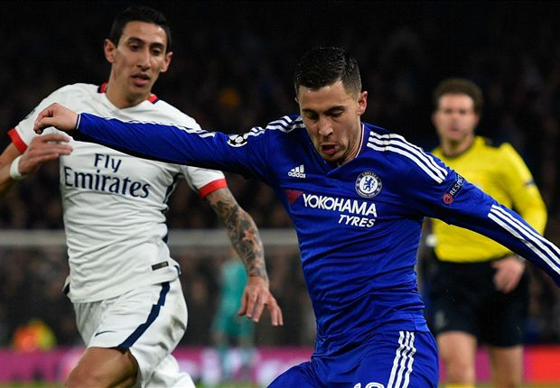 Hazard swaps shirts with Di Maria at half-time during Chelsea's clash with Paris Saint-Germain