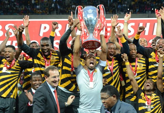 Kaizer Chiefs players celebrate their league championship