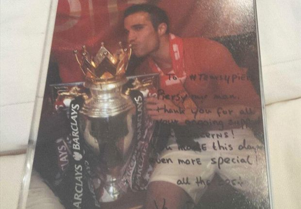 Robin van Persie's signed photo sent to Piers Morgan