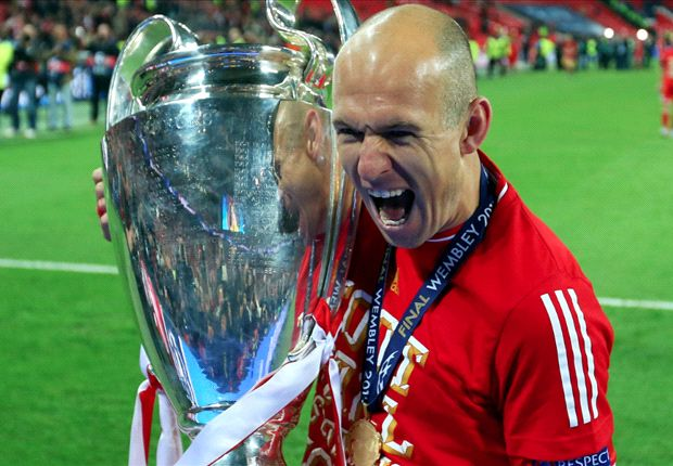 Robben celebrates following his Champions League-winning goal against Dortmund