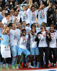Lazio celebrating Coppa Italia