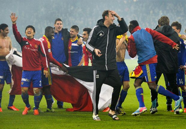 Basel players celebrate their fourth successive league title
