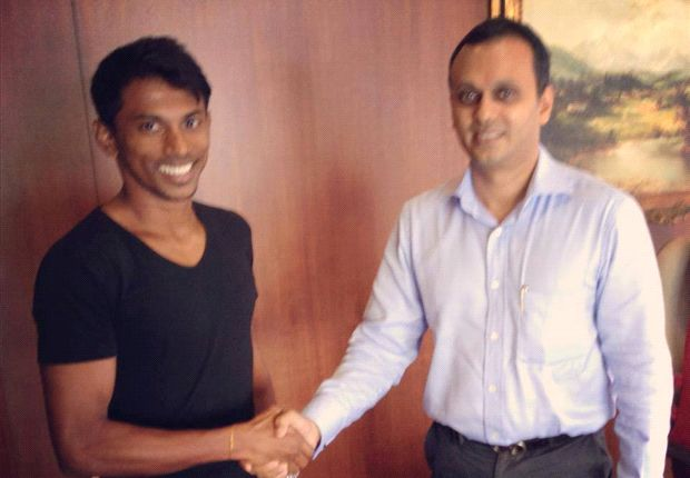 Godwin Franco with club chairman Shrinivas Dempo