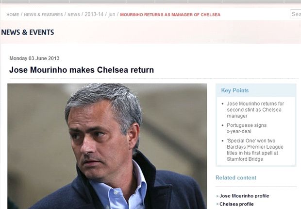 Premier League 'confirms' Mou's Chelsea return