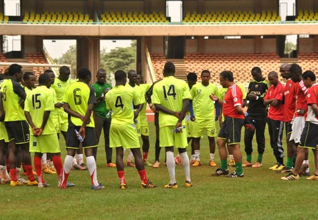 Kenya squad with coach Adel Amrouche in past training