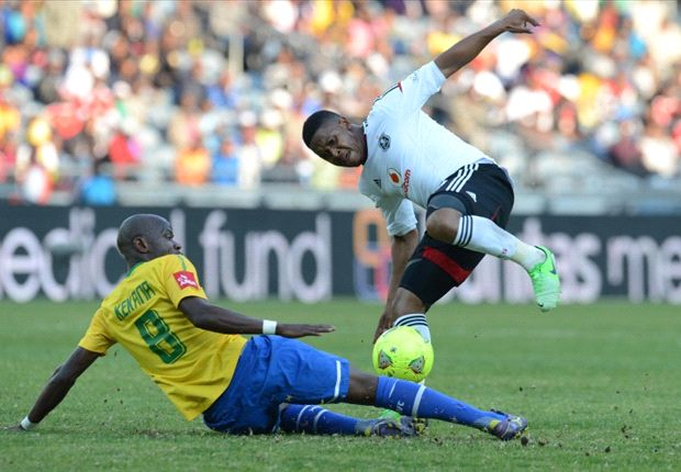 Pirates' Thandani Ntshumayelo battles with Sundowns' Hlompho Kekana