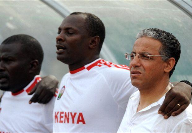 Kenya coach Adel Amrouche with James Nandwa in Nigeria.