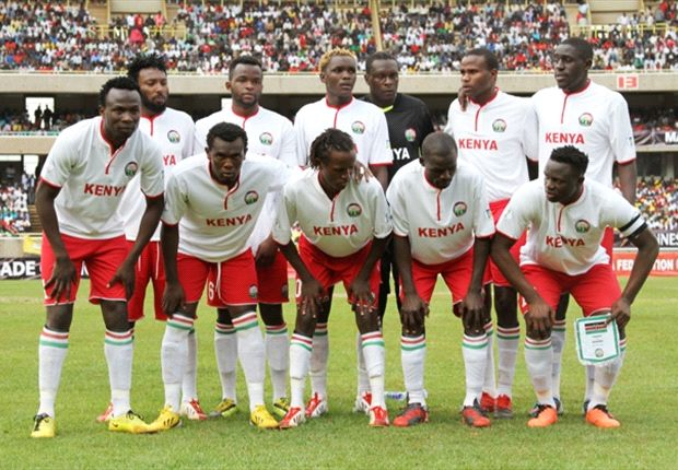 Kenya squad before facing Nigeria last Wednesday at Moi Kasarani.