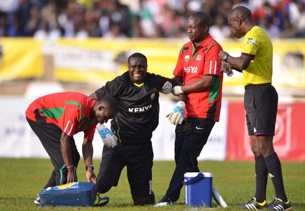 Sofapaka goalkeeper Duncan Ochieng' while turning out for Harambee Stars.
