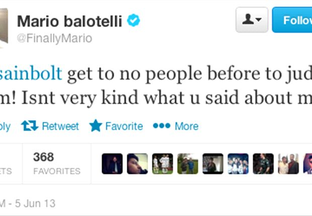 Extra Time: Balotelli blasts Usain Bolt in Twitter row