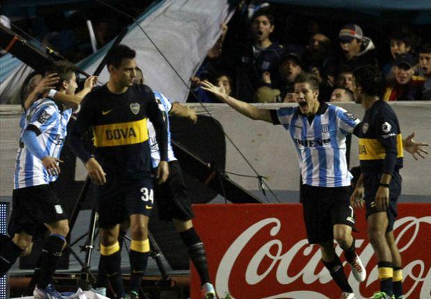 Todo Racing festeja el primer gol ante Boca
