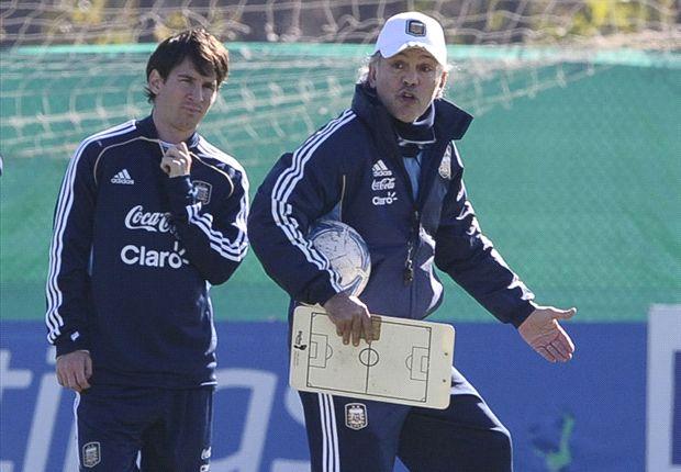 Lionel Messi junto a Alejandro Sabella.