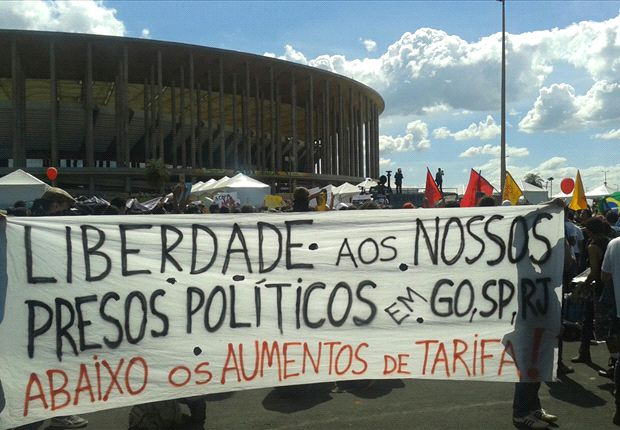 Confederations Cup protester slams Brazil government over tournament costs