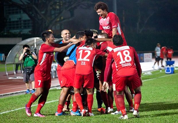 Balestier celebrate their quarter-final win over Tampines in the League Cup