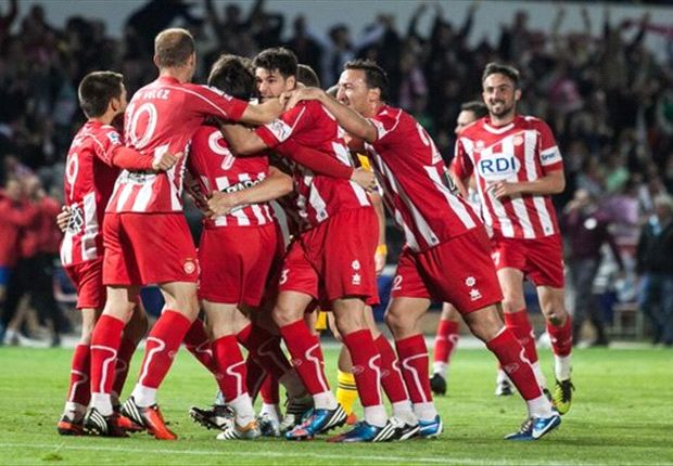 El Girona celebra un gol esta temporada