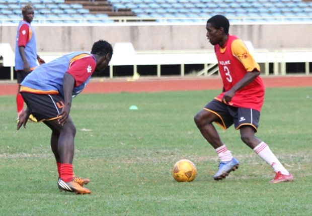 Tusker's new signing Andrew Murunga (r) training with Harambee Stars