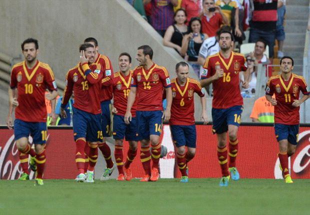 Un'esultanza di gruppo della Spagna, una scena ormai consueta
