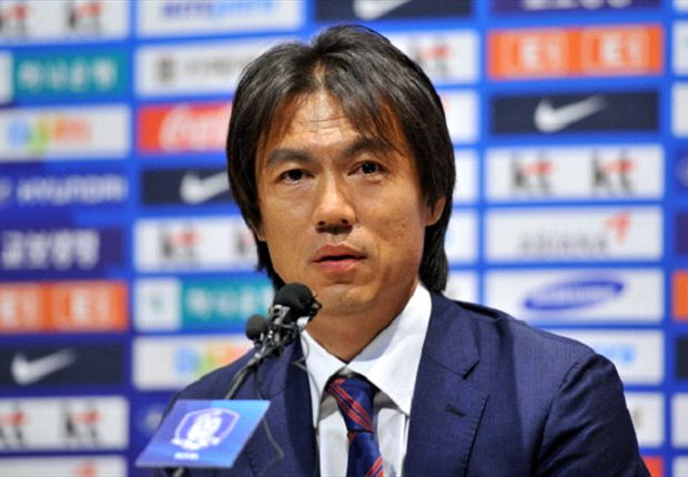 South Korea legend Hong Myung-Bo holding his first press conference as national team coach