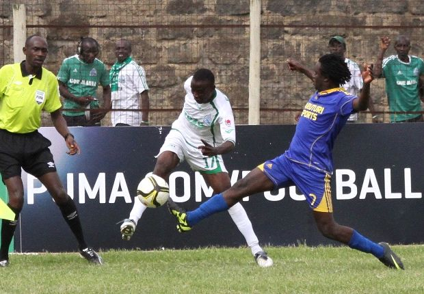 Gor Mahia's Eric Ochieng (in white) when he made his debut against Karuturi Sports