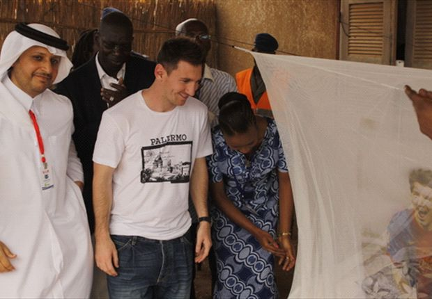 Messi visited Senegal to promote an anti-malaria campaign on Thursday