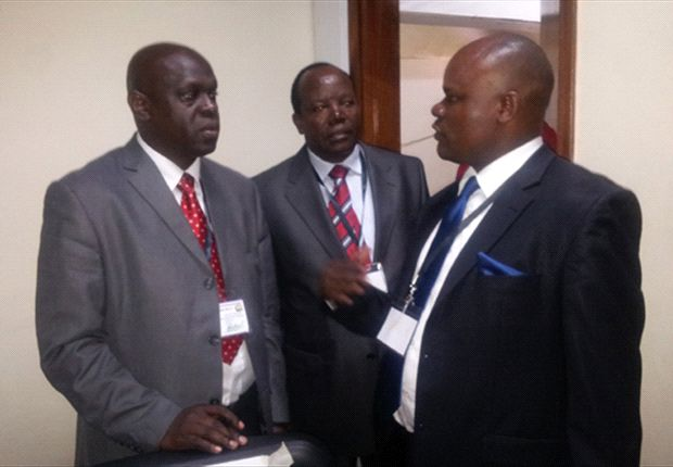 Kenya FA President Sam Nyamweya with CEO Esakwa and Asembo (vice-chairman)