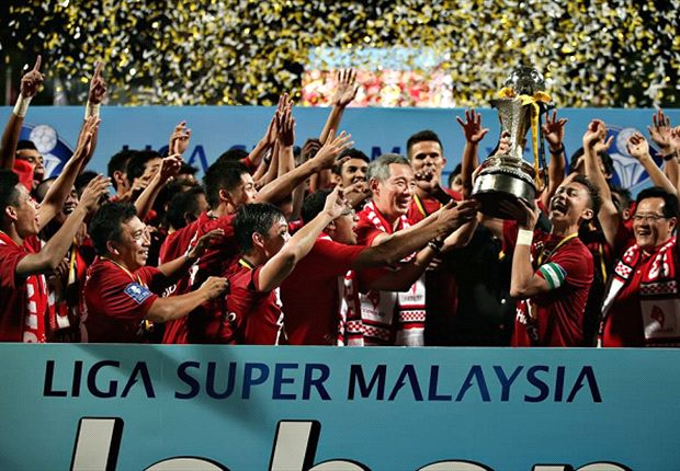 The LionsXII celebrating their Malaysian Super League win.