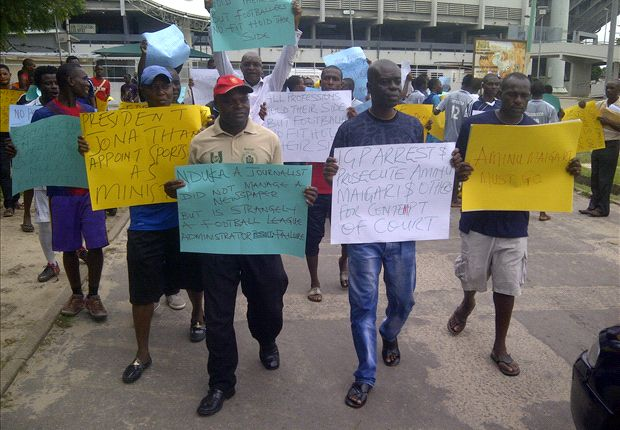 The protesters at the National Stadium on Wednesday