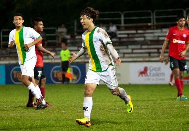 Woodlands striker Moon Soon Ho leads the line after his hat-trick this week