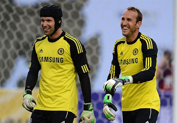 Chelsea's rival keepers share a joke