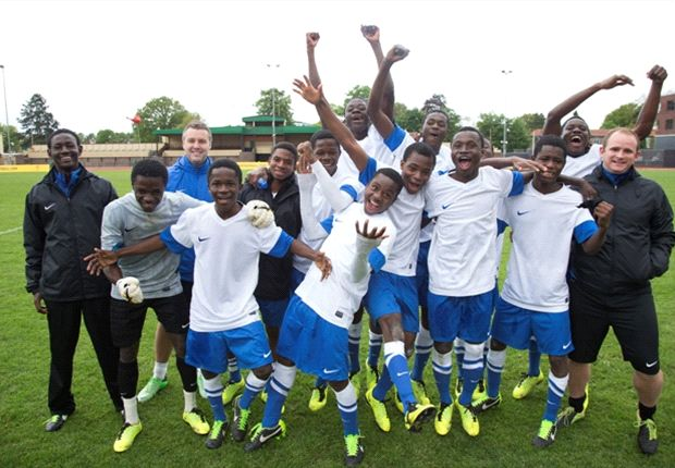 A very cheerful Right to Dream Under-15 team