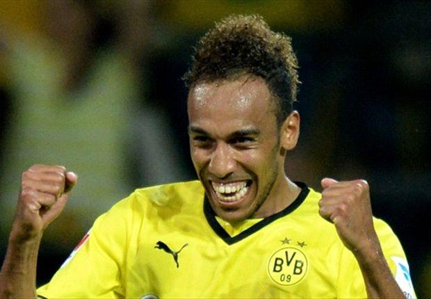 Dortmunds Neuzugang Pierre-Emerick Aubameyang traf gegen den FC Augsburg dreifach