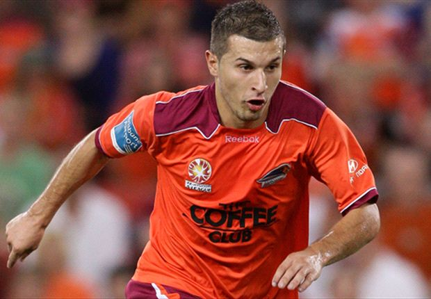 The forward in action for the championship-winning Brisbane Roar