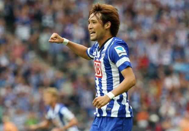 Hajime Hosogai hatte mit Hertha BSC gegen Eintracht Frankfurt allen Grund zu Freude